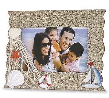 Beach Bilderrahmen Mit Segelboot Seestern Und Muscheln Sand Textur