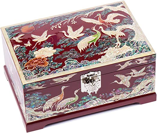 Mother of Pearl Inlay  2-Tier Lacquer Wood Jewelry Trinket Drawer Keepsake Box