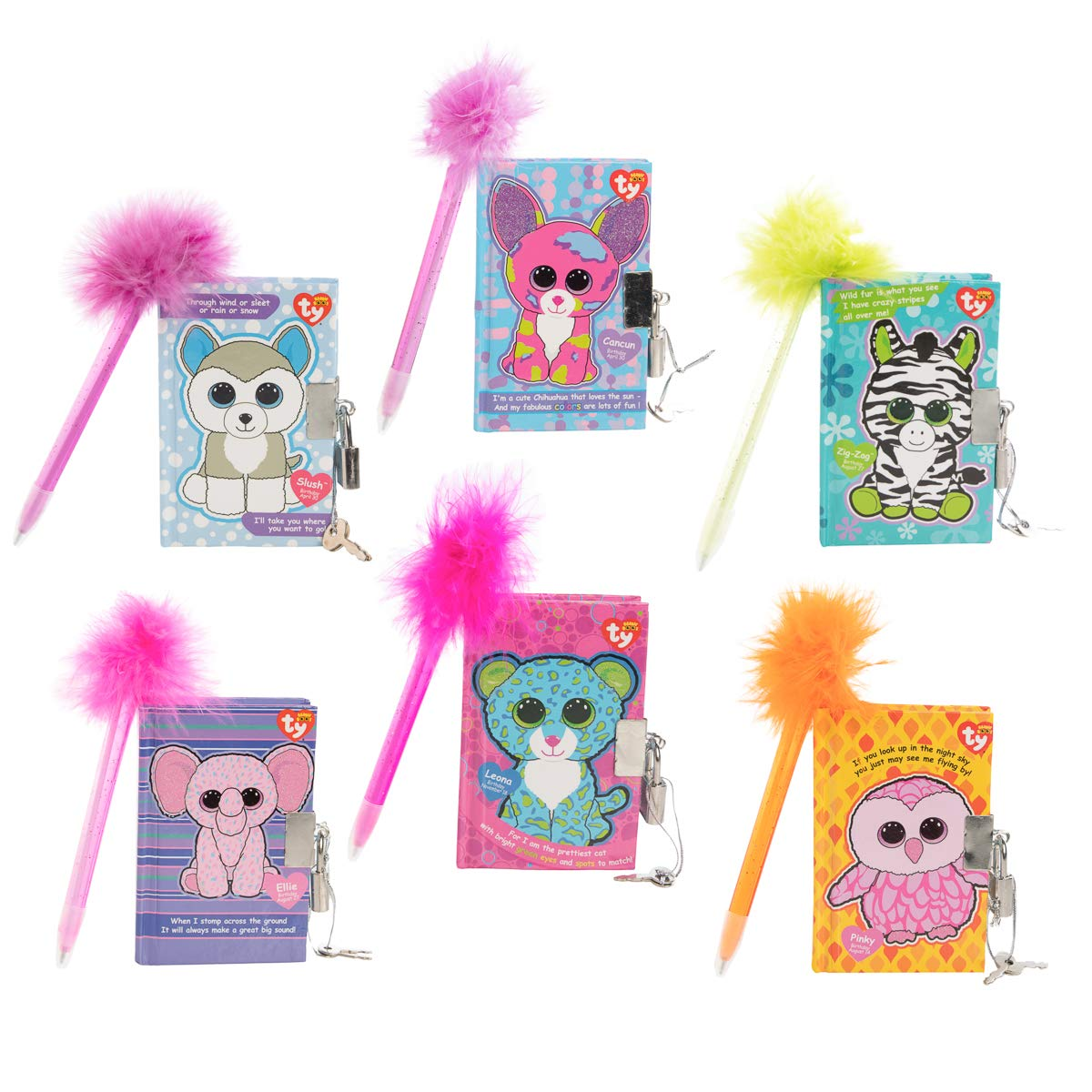 Inkology (6 Pack Beanie Boos Mini Locking Diary with Pen Kids Journals for Girls Boys Party Favors for Kids Bulk Notebook by Inkology