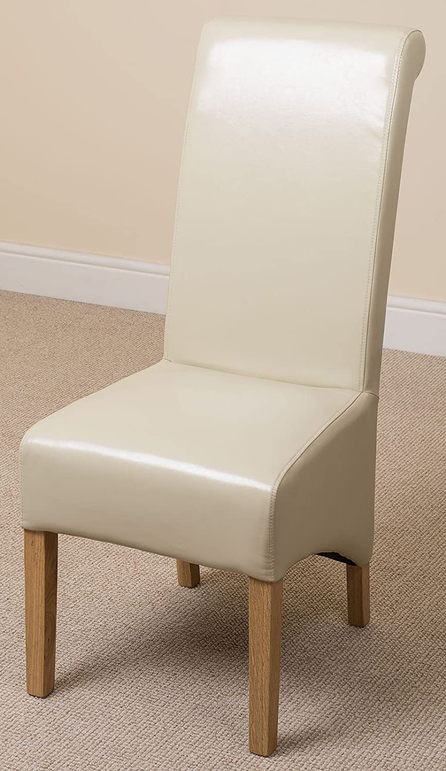 Amazon.com - X6 Montana Scroll Back Leather Dining Chairs (Ivory) by OAK FURNITURE KING - Chairs & Amazon.com - X6 Montana Scroll Back Leather Dining Chairs (Ivory) by ...