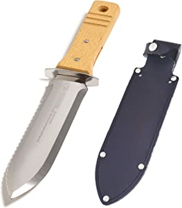 "Nisaku NJP802 Hori Weeding & Digging Knife, Authentic Tomita (Est. 1960) Japanese Stainless Steel 7.25"" Blade, Wood Handle W/Hilt"