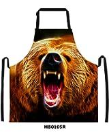 FOR U DESIGNS Cool Bear Print Men's Kitchen Chief Cooking BBQ Bib Apron Gift