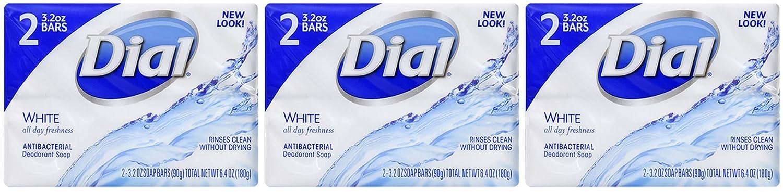 Dial White Antibacterial Deodorant Soap 3.2 oz bars 6 Bar Set