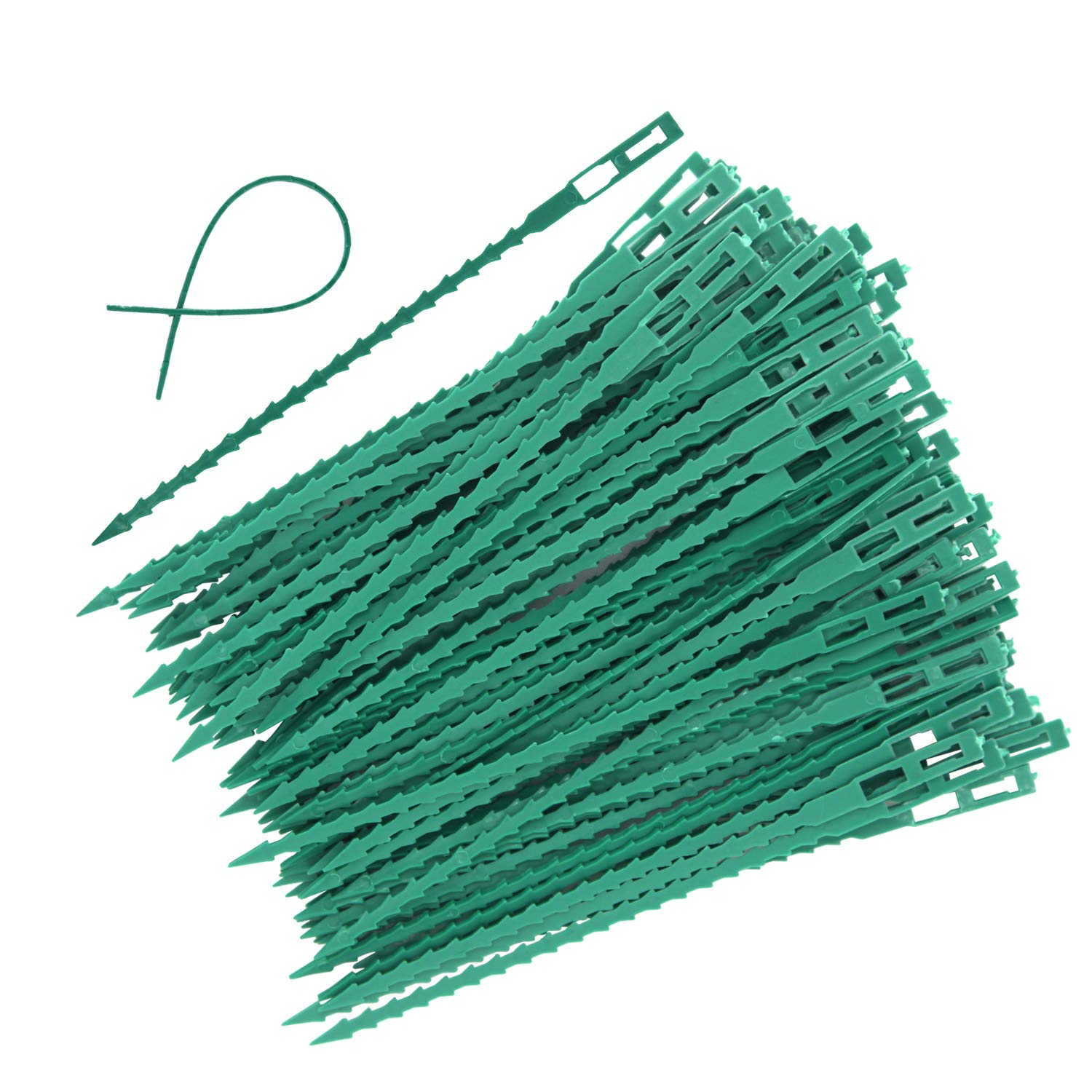 EuTengHao 100 Pieces Adjustable Garden Plant Twist Ties, 6.7 Inch Flexible Plastic Twist Ties Multi-Use for Secure Vine (Green)