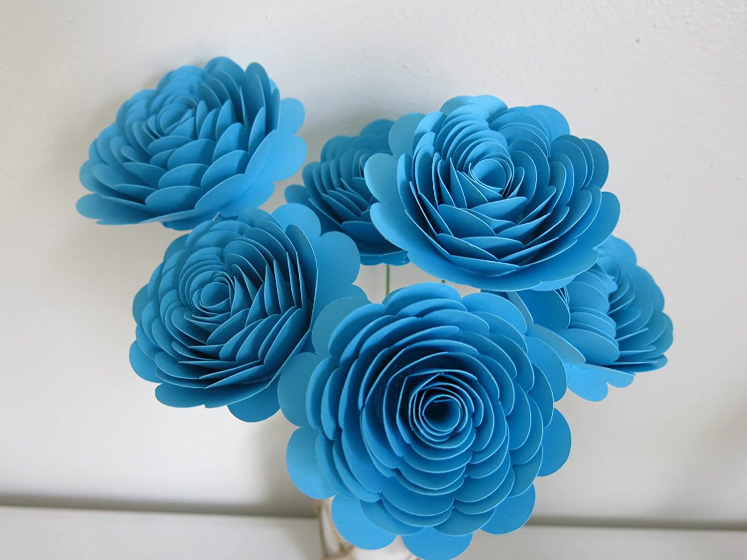 Amazon 6 aqua blue large quilled roses on stems 3 inch blooms amazon 6 aqua blue large quilled roses on stems 3 inch blooms turquoise color paper flowers handmade izmirmasajfo