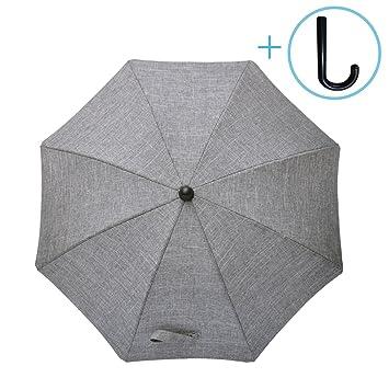 Gris Mélange Protection Anti UV 50+ / Diamètre 73 cm / Flexible et Orientable / Fixation universelle pour tube rond ou oval Ombrelle Universelle pour Poussette et Landau Zamboo