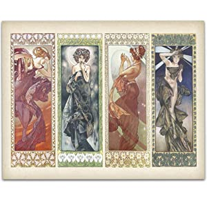Art Deco Alphonse Mucha Paintings - 11x14 Unframed Art Print - Great Home Decor and a Great Gift Under $15 for Painters