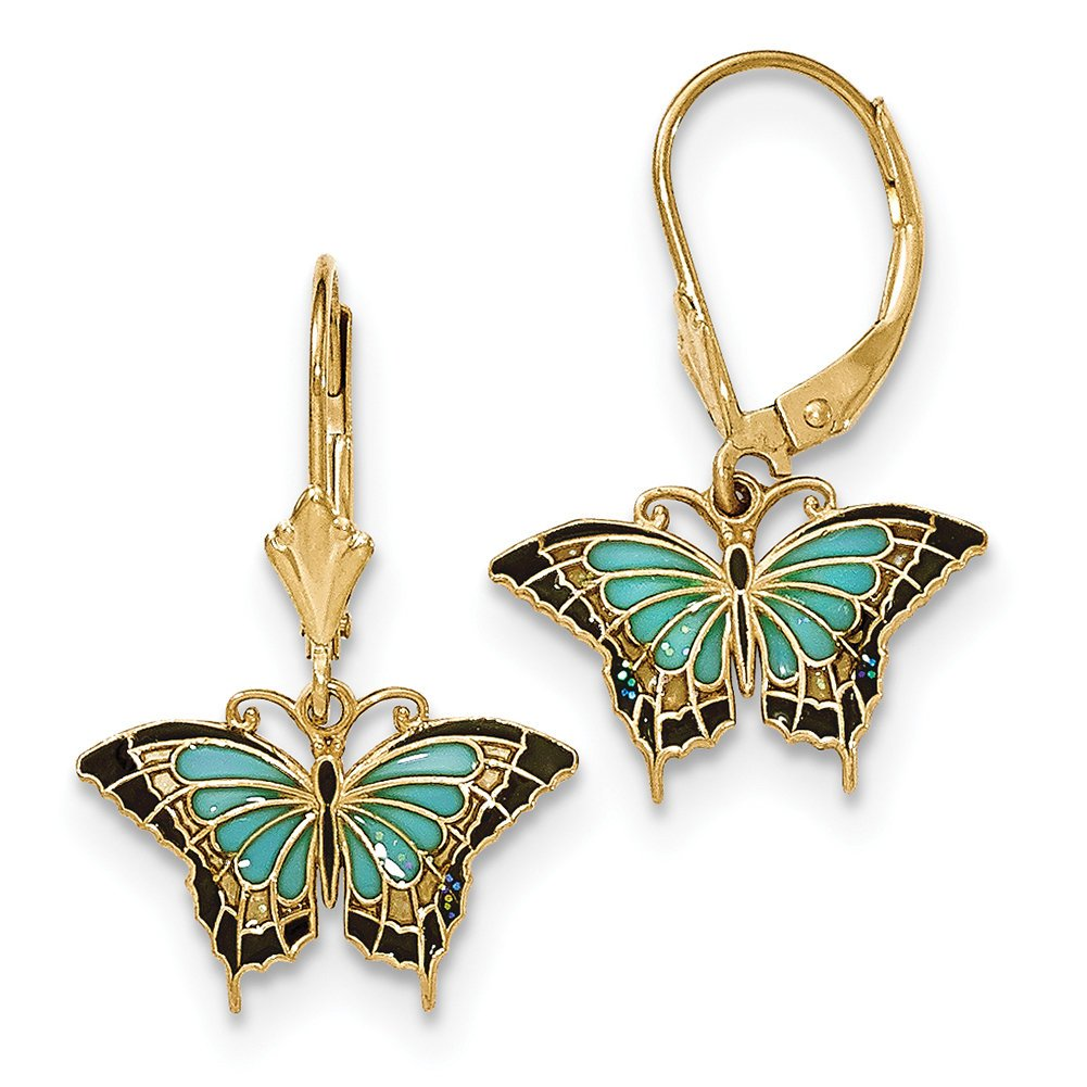14k Yellow Gold Butterfly w/Aqua Stained Glass Acrylic Wings Hook Earrings TF759 by Lex and Lu