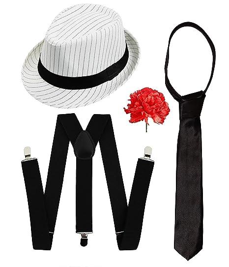 12258bfeb92 Ilovefancydress Men s Gangster Set Fancy Dress Accessory Costume Deluxe Kit  Pinstripe Trilby Hat + White Braces