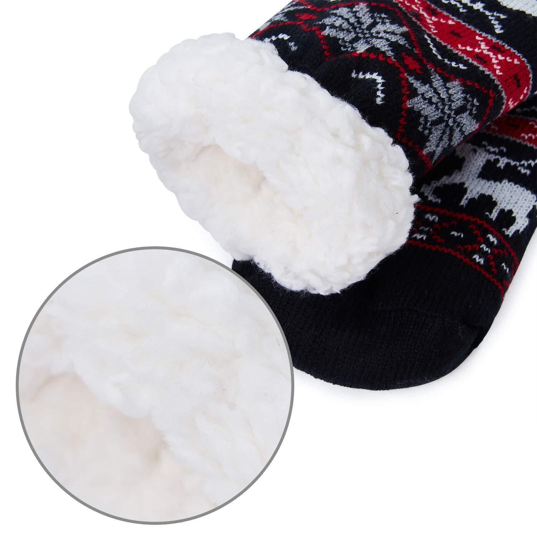 AIDEAONE Damen Weihnachten stricken Pantoffel Socken pelzigen Fleece ...