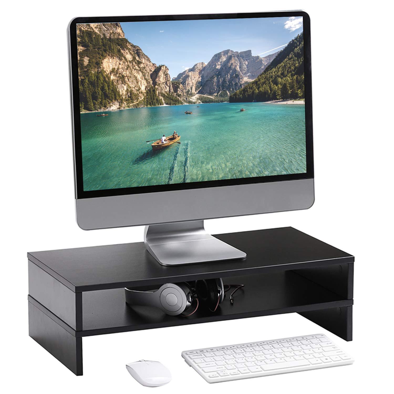 Black CM1006 Rfiver Wood Dual Monitor Stand Riser 2 Pack Multifunctional Desktop Organizer Computer Tabletop Screen Riser Stand for TV PC iMac Laptop Printer