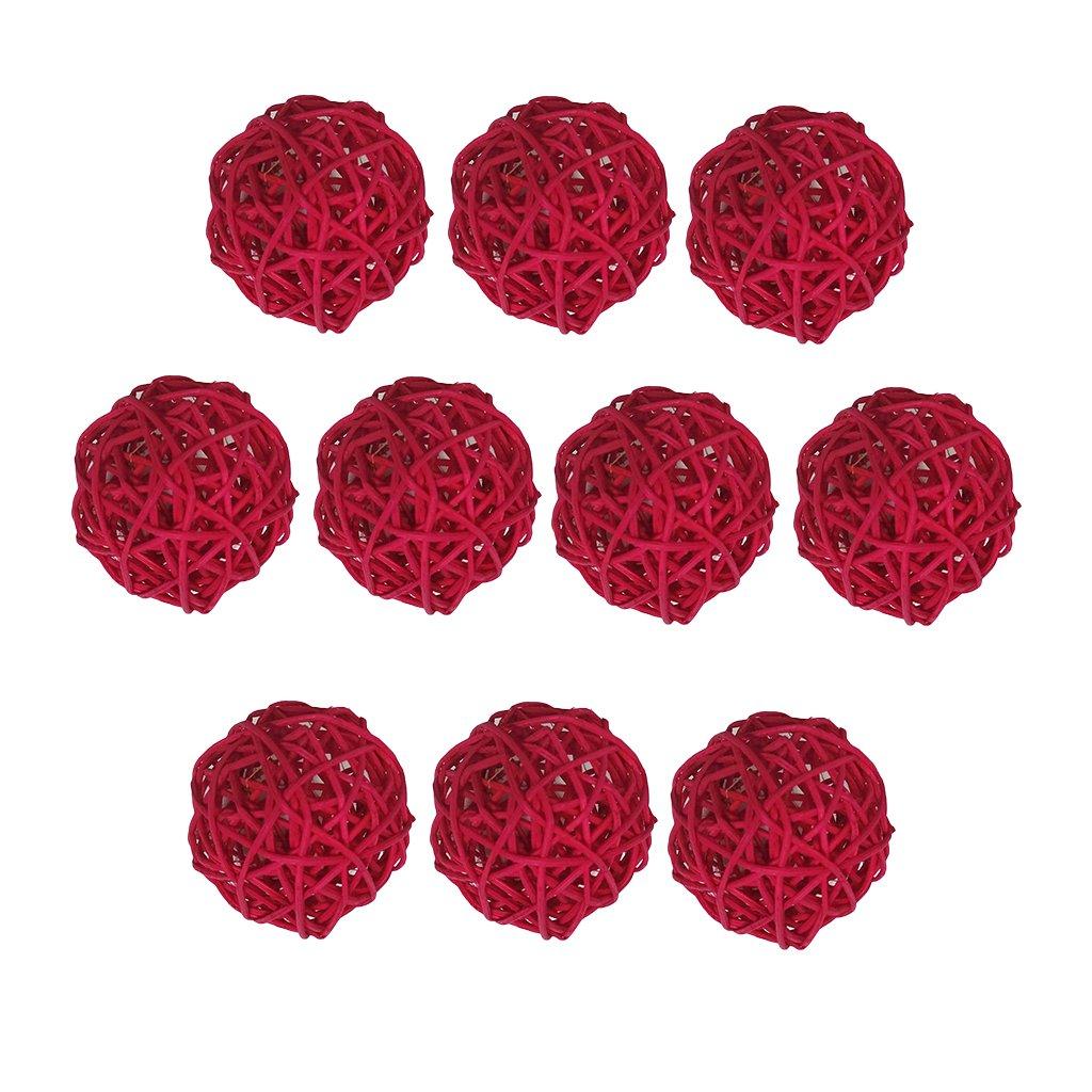 Baoblaze 10 Pieces Decorative Spheres Rattan Twig Balls Vase Bowl Filler Rattan Wicker Cane Balls Patio Garden Wedding Birthday Party Christmas Ornament DIY Decoration 5 cm/1.96 inch - Coffee