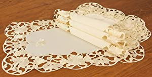 Xia Home Fashions Daisy Lace Embroidered Cutwork Spring Placemats, 12 by 18