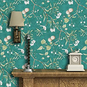 """Green Peel and Stick Wallpaper Peach Tree Self Adhesive Wallpaper Floral Bird Removable Wallpaper Natural Green Wallpaper Stick and Peel Shelf Liner Wall Covering Vinyl Film17.7""""×118"""""""