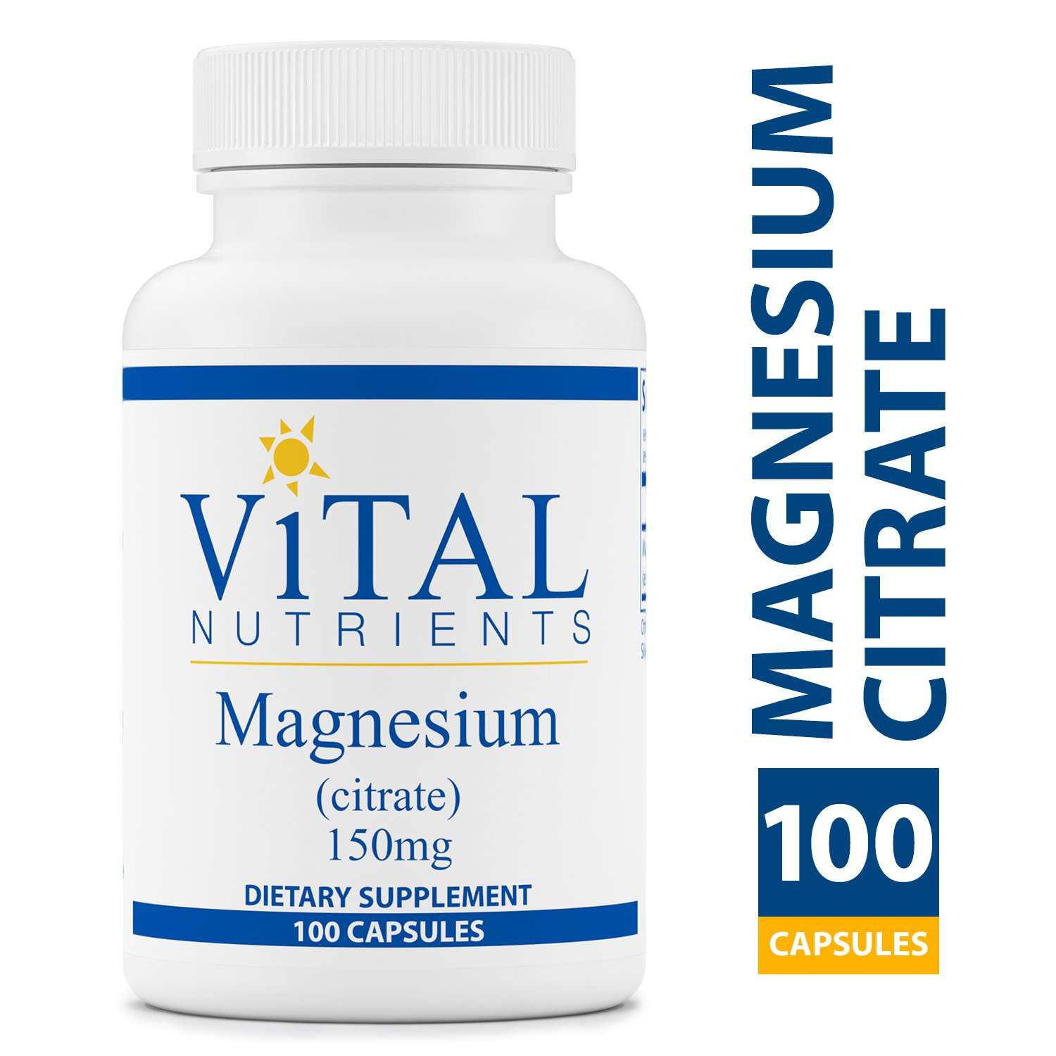 Vital Nutrients - Magnesium Citrate 150 mg - Magnesium for Enhanced Absorption - Gluten Free - 100 Capsules