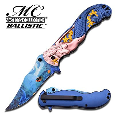 Masters Collection Ballistic - Couteau de poche pliant - Collection Mermaid Ocean - Lame inox 440 - Manche relief # MC-A013BL