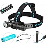 Bundle: olight h2r nova cree LED 2300 lumens rechargeable headlamp flashlight customized 18650 battery - magnetic usb charging cable- headband - clip and mount with olight patch