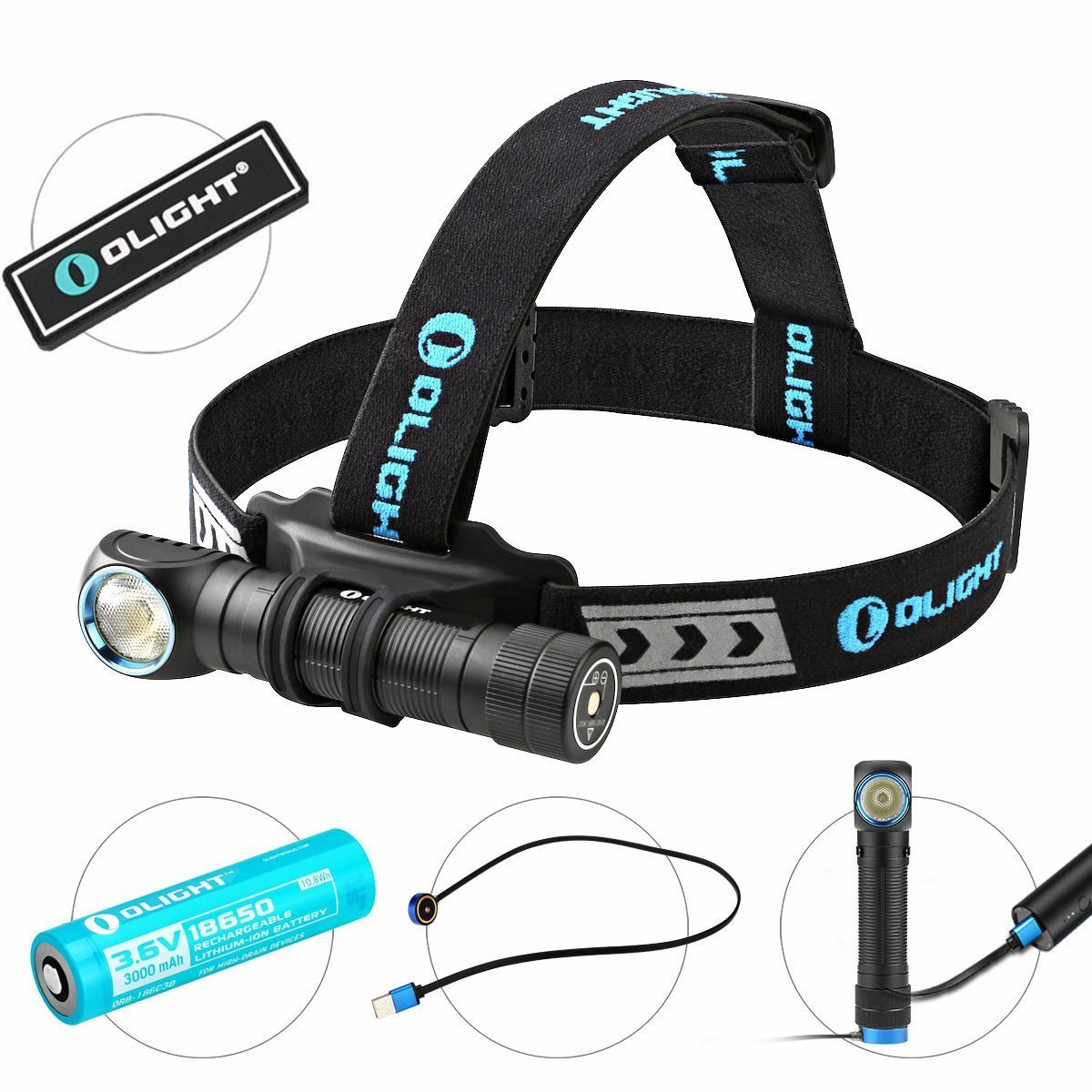 OLIGHT Bundle H2R Cree LED Up to 2300 lumens Rechargeable Headlamp Flashlight Customized Battery - Magnetic USB Charging Cable- Headband - Clip and Mount Patch (Neutral White)
