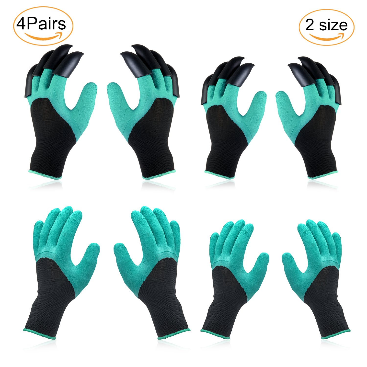 Garden Genie Gloves - 2018 4 Pairs 2 Size Garden Gloves with Claw For Women and  Men Plant, Dig Fix Including 2 Pairs Gloves with Claws, 2 Pairs Normal Gloves, Soft, Waterproof and Breathable