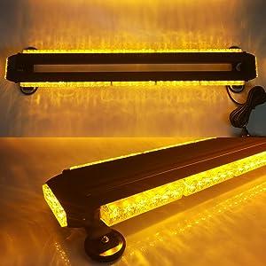 """Evershine Signal ES-318-5 32.3"""" Heroic Spirit Beetle Shape Emergency Warning Traffic Advisor Vehicle Roof Strobe Light Bar with LEDs on Four Sides Optional 66W 12V DC-Amber(5-Bar)"""