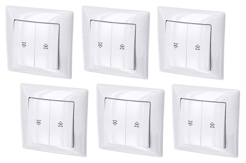 Marco todo en uno serie G1 blanco puro cubierta empotrado de uso Pack de 6 pulsadores de persianas UP