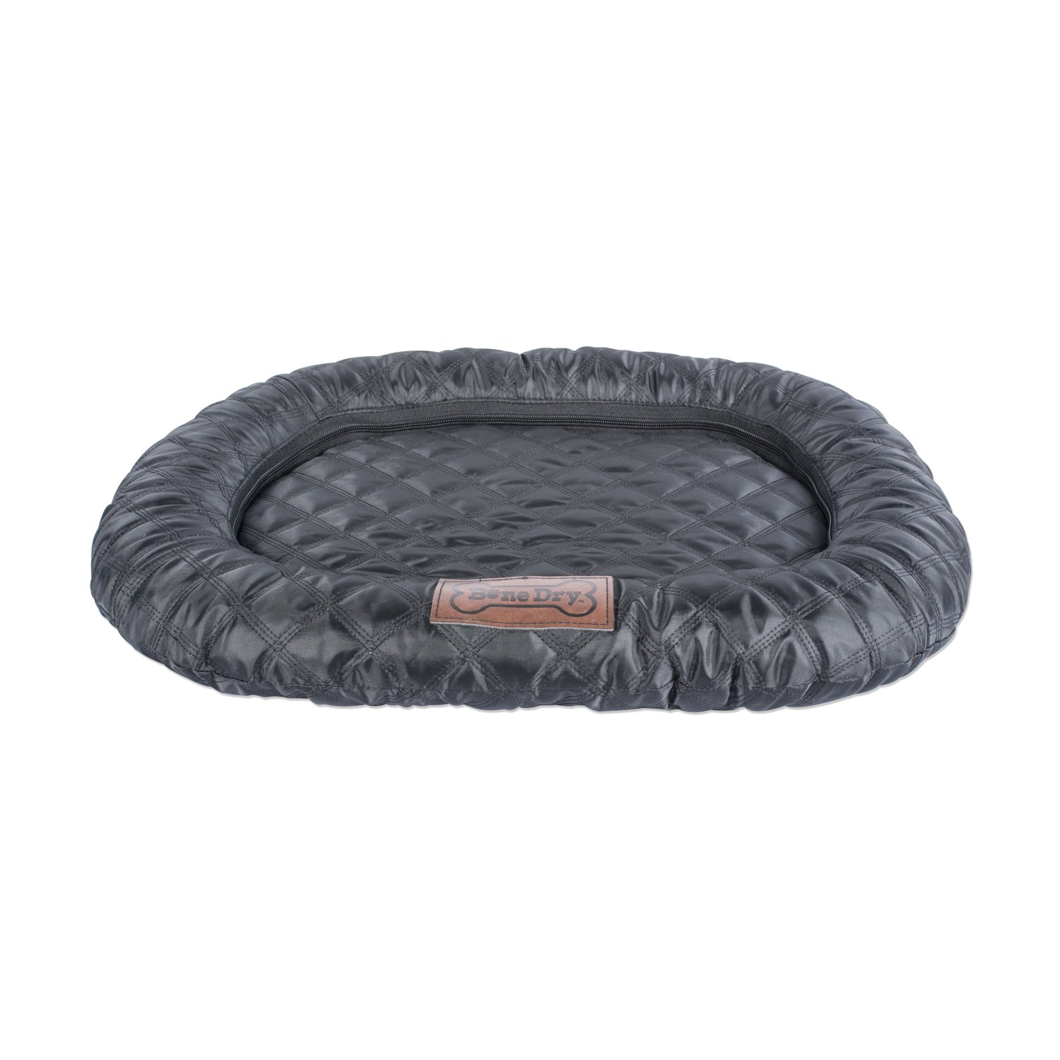 DII Bone Dry Extra Large Oval Quilted Kennel & Crate Padded Pet Mat, 26x39  for Dogs or Cats-Black