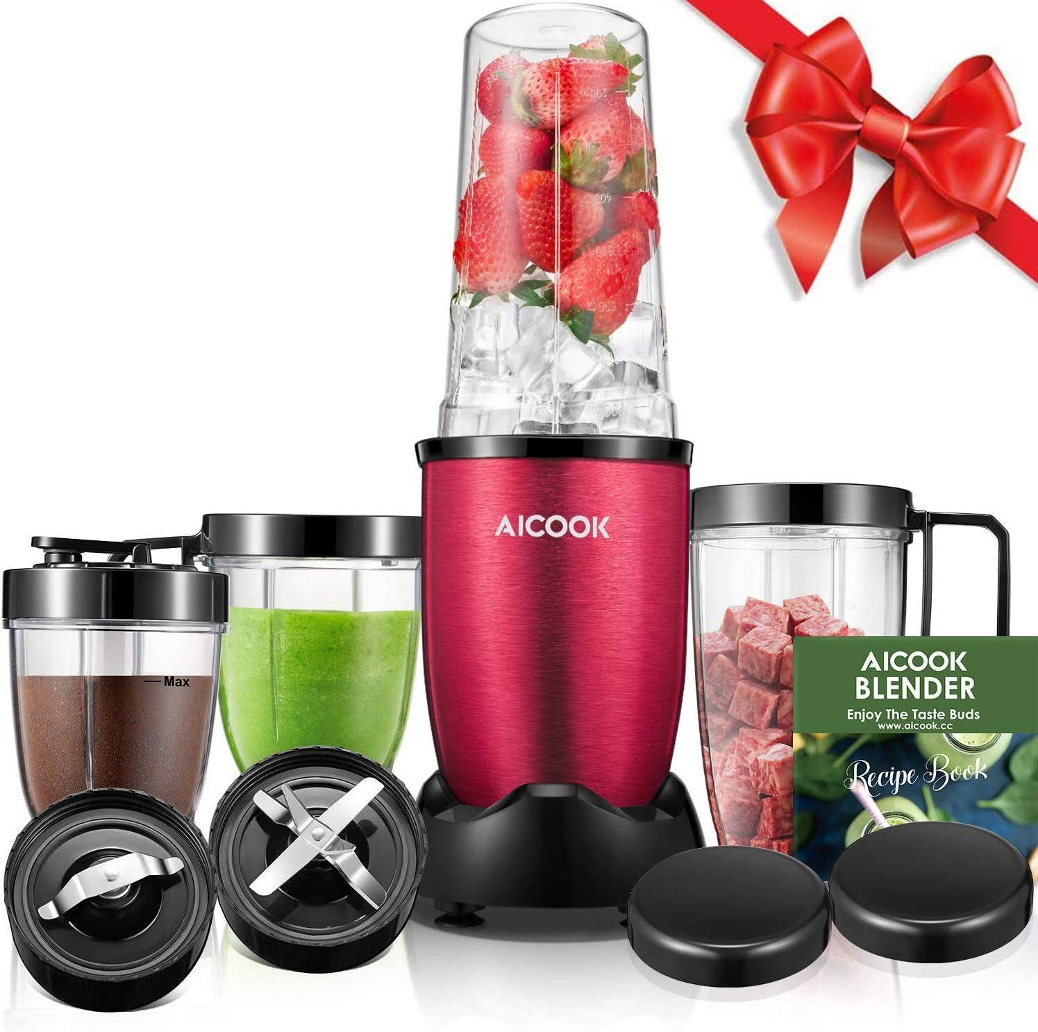 Aicook Smoothie Blender (BPA free), 780W High-Speed Personal Blender, 15-Piece Smoothie Maker/Mixer Included 4-Piece BPA-Free Blender Bottles, Two SUS 304 Stainless Steel Blades, Red