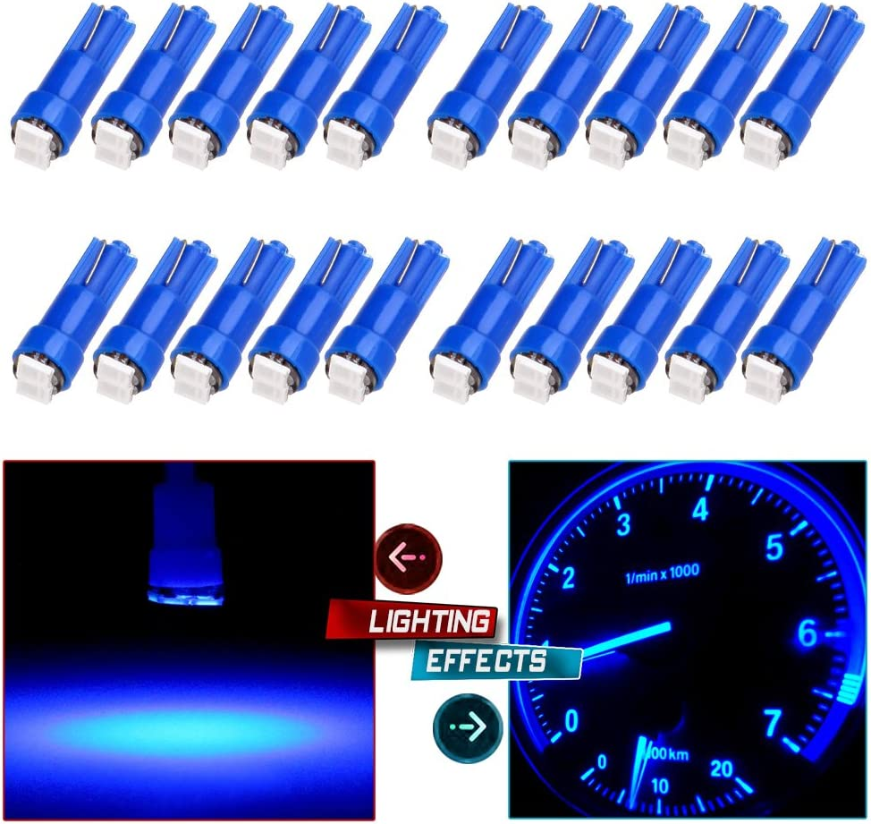 cciyu T5 58 70 73 74 Instrument Panel Gauge Cluster Dashboard LED Wedge Light Bulb,20Pack