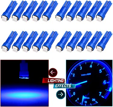 20x T5 58 70 73 74 86 Dashboard Gauge 2835 2SMD LED Wedge Lamp Bulb Light Blue