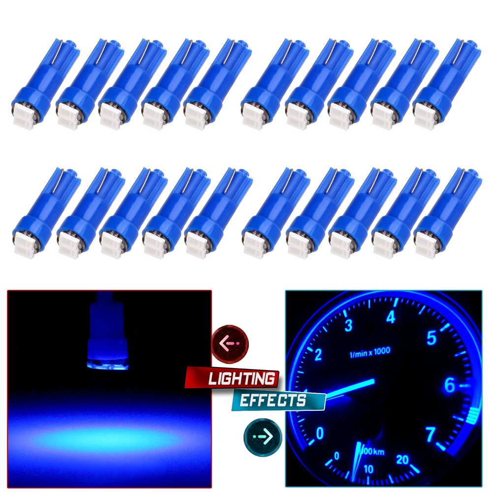 cciyu T5 58 70 73 74 Instrument Panel Gauge Cluster Dashboard LED Wedge Light Bulb, 20Pack 990206-5210-1753163