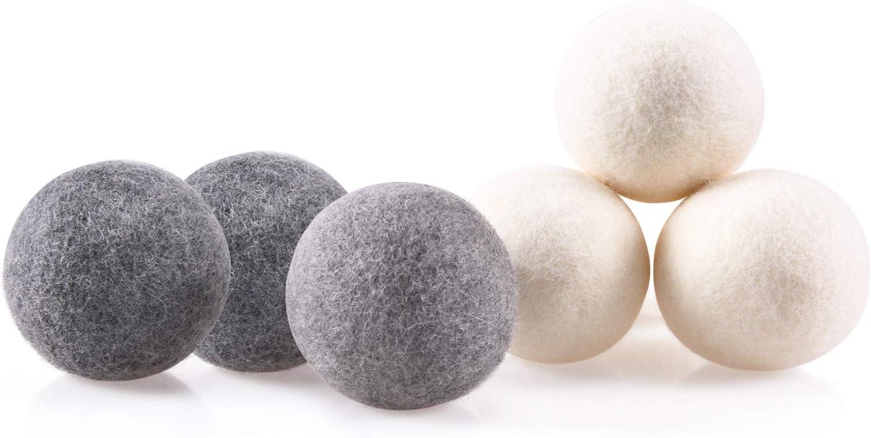 Wool Dryer Balls 3 Gray 3 White 6-Pack XL Landry Dryer Balls Reusable Natural Fabric Softener New Zealand Organic Wool Handmade Shorten Drying Time by WANTELL (3 Gray 3 White, XL)