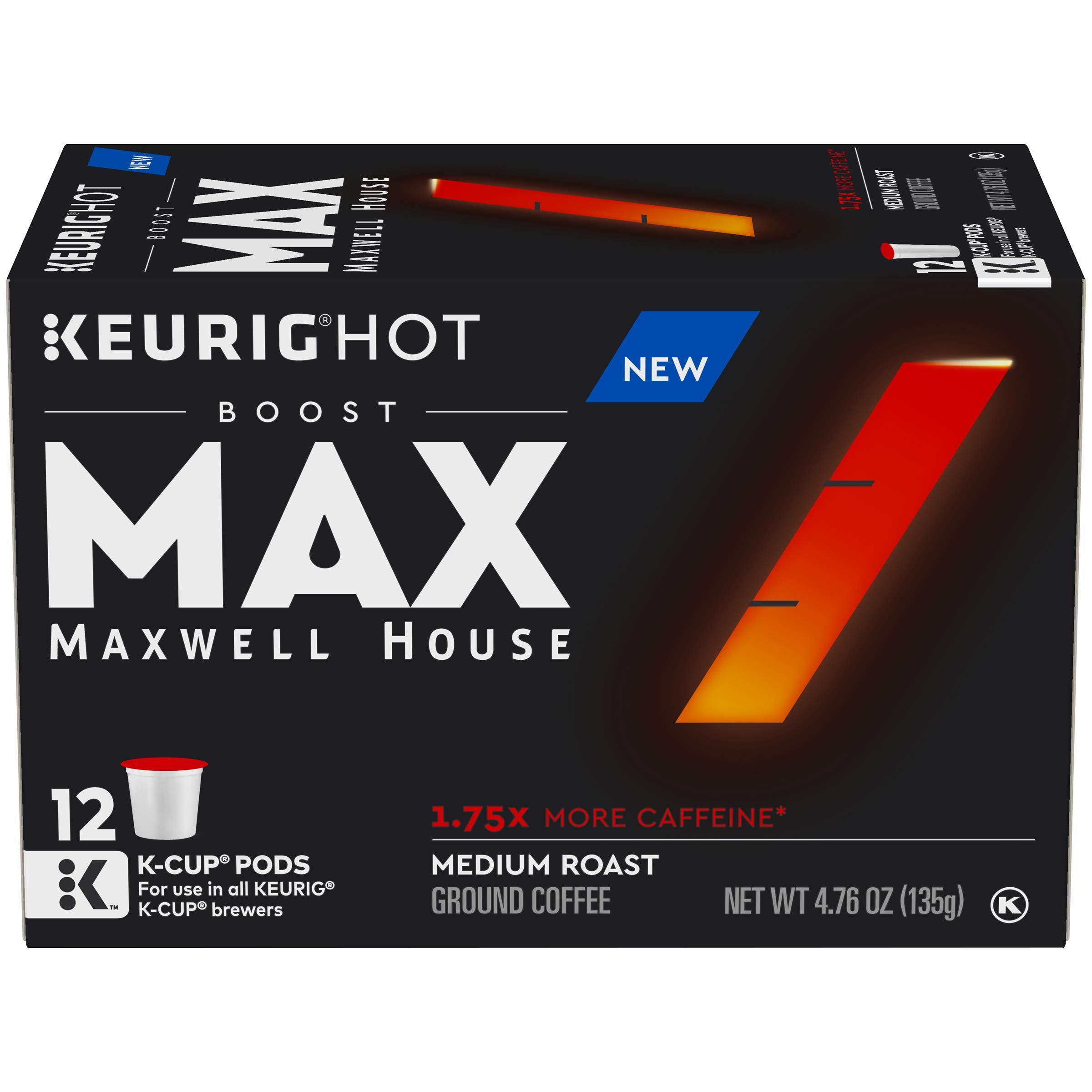 MAX by Maxwell House Boost 1.75x Caffeine Keurig K Cup Coffee Pods (72 Count, 6 Boxes of 12)