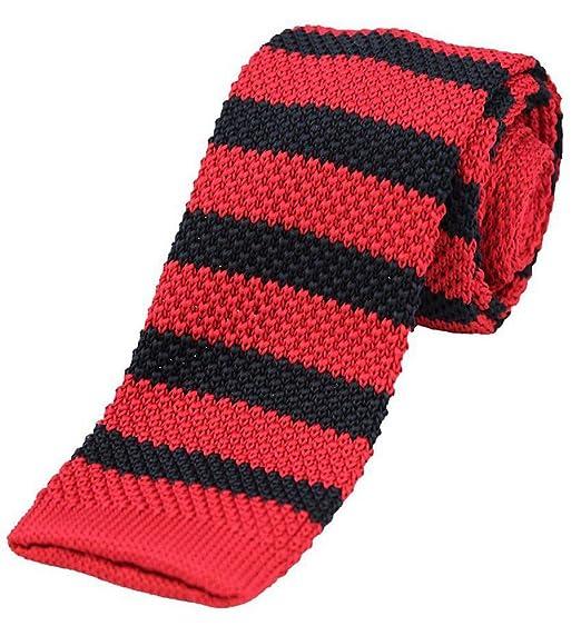 441cba9e1c3 David Van Hagen Mens Striped Thin Knitted Silk Tie - Red Black   Amazon.co.uk  Clothing