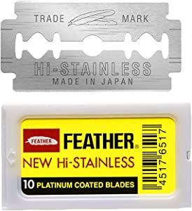 Feather Double Edge Safety Razor Blades - (10 Count) - Platinum Coated Hi-Stainless Steel Razor Blades - Fits Most Safety Razors - Super Sharp for Close Shaves - Japanese Quality