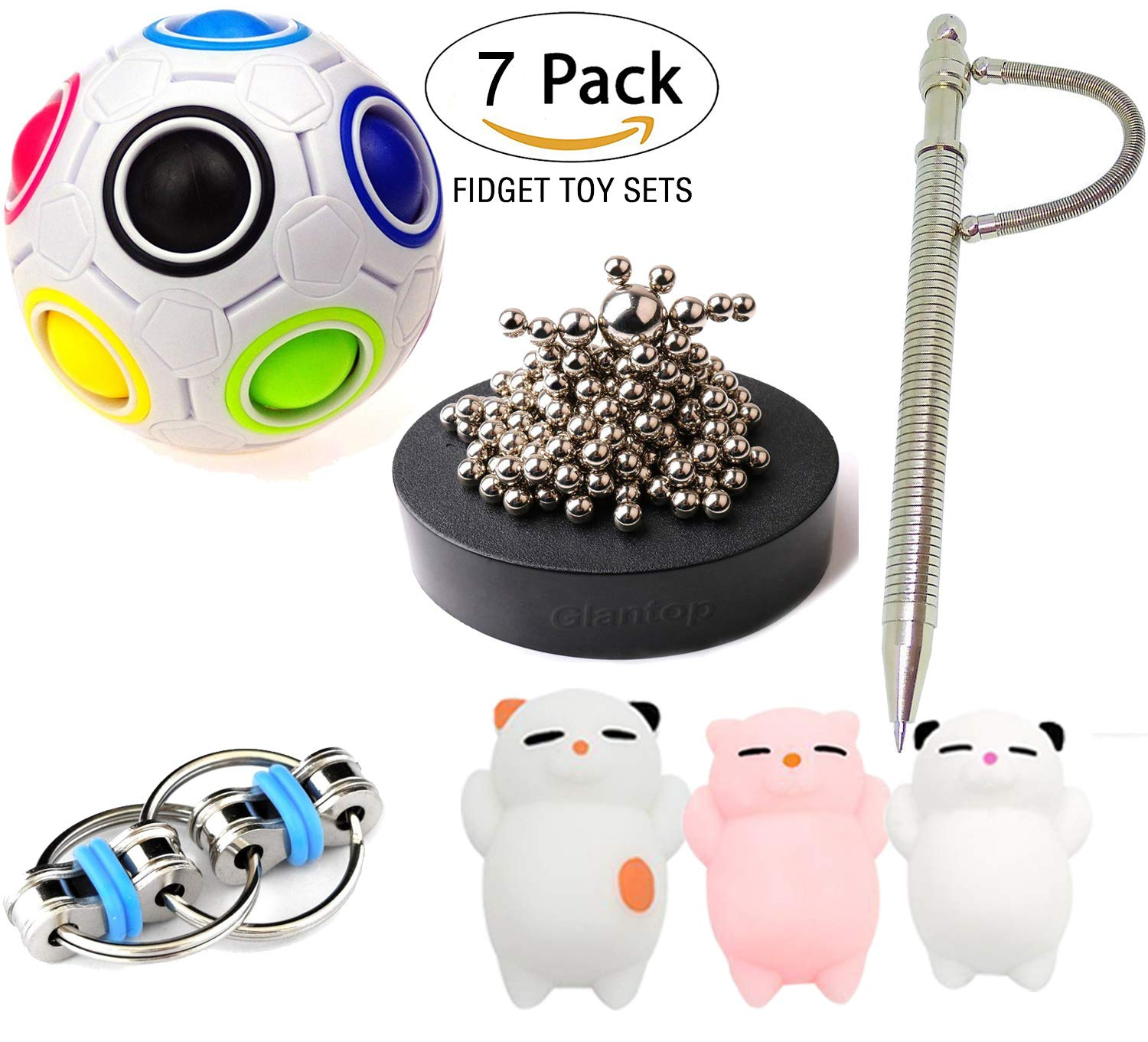 Leeche 7 Pack Bundle Sensory Toys Set-Magnetic Pen, Bike Chain/Magnetic Sculpture/Liquid Motion Timer and Twisted Fidget Toys Value Assortment-Stress Relax Toys for ADD ADHD Child&Adults