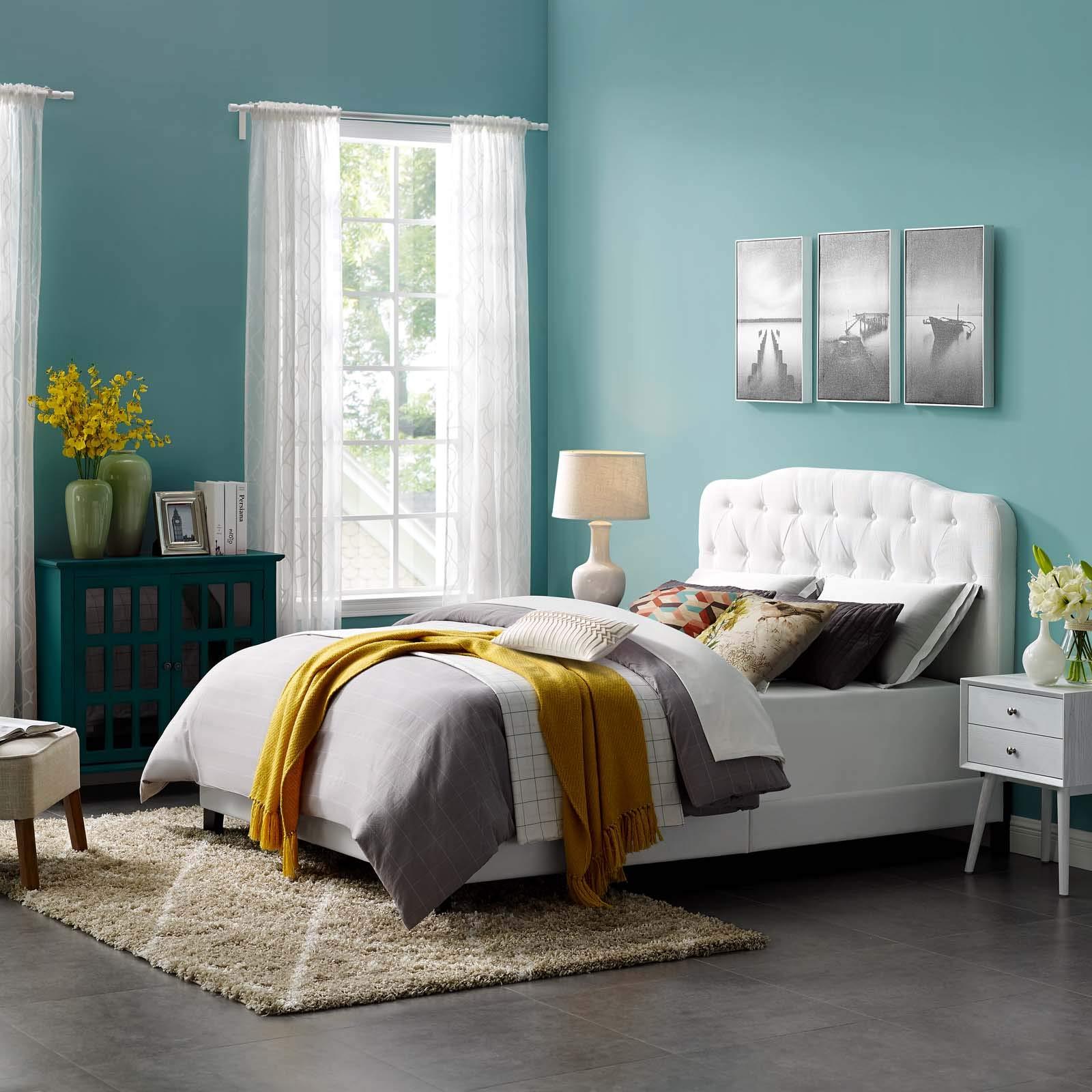 Modway MOD-5839-WHI Amelia Full Upholstered Fabric Bed, White
