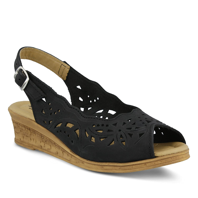 SPRING STEP Shoes Women's Orella | Color Black Nubuck | Sling-Back Wedge Sandal B0789TXCDT 38 M EU