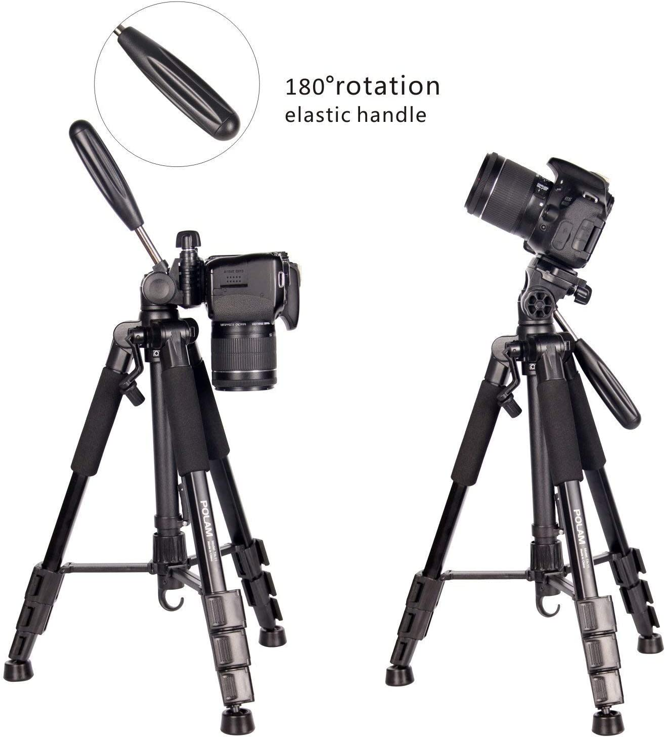 Reisekamera Stativ mit Tragetasche f/¨/¹r SLR//DSLR passt mit Canon//Nikon//Sony//etc. Stativ-POLAM-FOTO 140cm Fotostativ Blau
