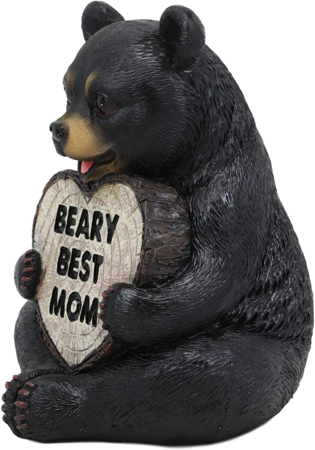 Ebros Forest Black Bear Holding Heart Sign Saying Beary Best Mom Statue