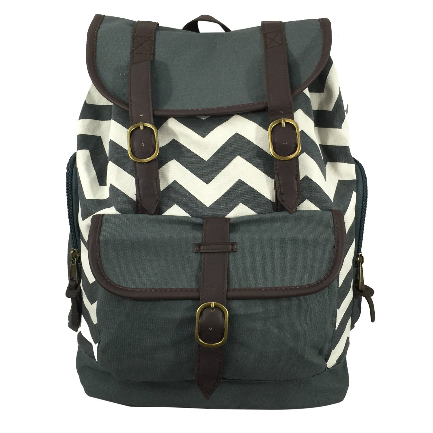 K-Cliffs Printed Canvas Laptop Book Bag Cotton Daypack Vintage Casual Laptop Backpack College Student School Bag Canvas Backpack Fits 15.6'' Chromebook iPad Travel Bag, Chevron