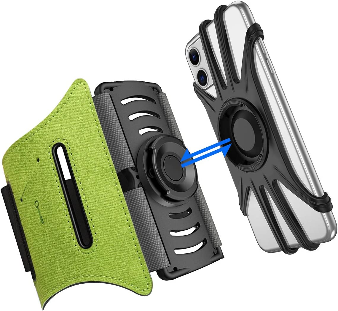 """Running Phone Holder VUP iPhone Armband Detachable 360 Rotatable Arm Bands for Cell Phone Fit Any 4-6.5"""" Phones iPhone Xs Max XR X 8 7 6 6S Plus Samsung Galaxy S9+ S9 S8 S7 S6 Edge Note 8 (Green)"""