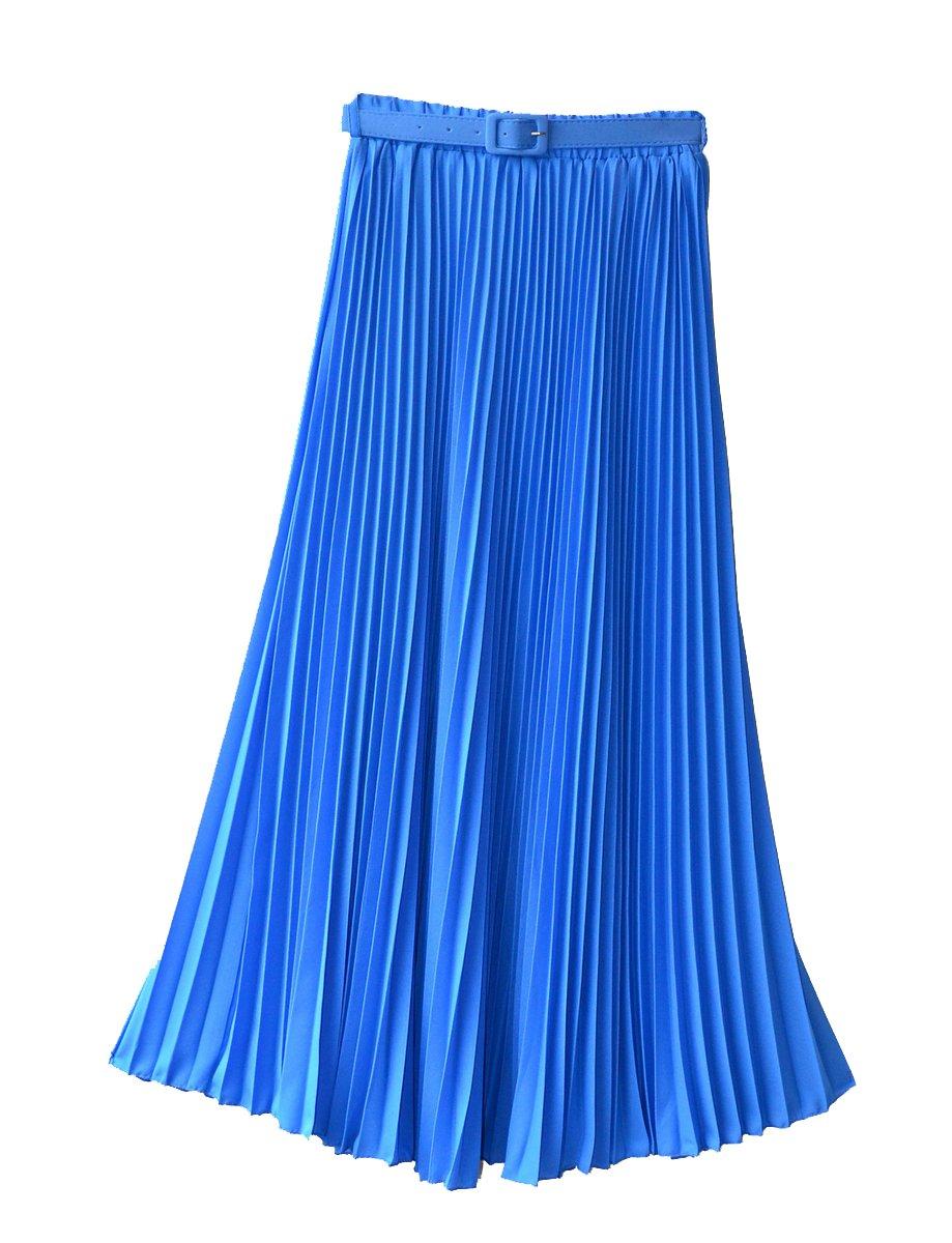 レディース レトロ プリーツ マキシ ロング スカート B00KLVYE14 One Size|ブルー ブルー One Size