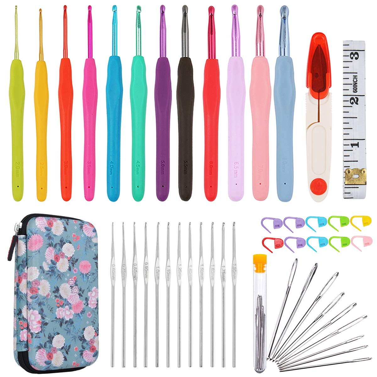 Comecase All-in-One Crochet Hooks Set Plus Large-Eye Blunt Needles Yarn Knitting with Case and More Accessories! Ergonomic Handle for Extreme Comfort
