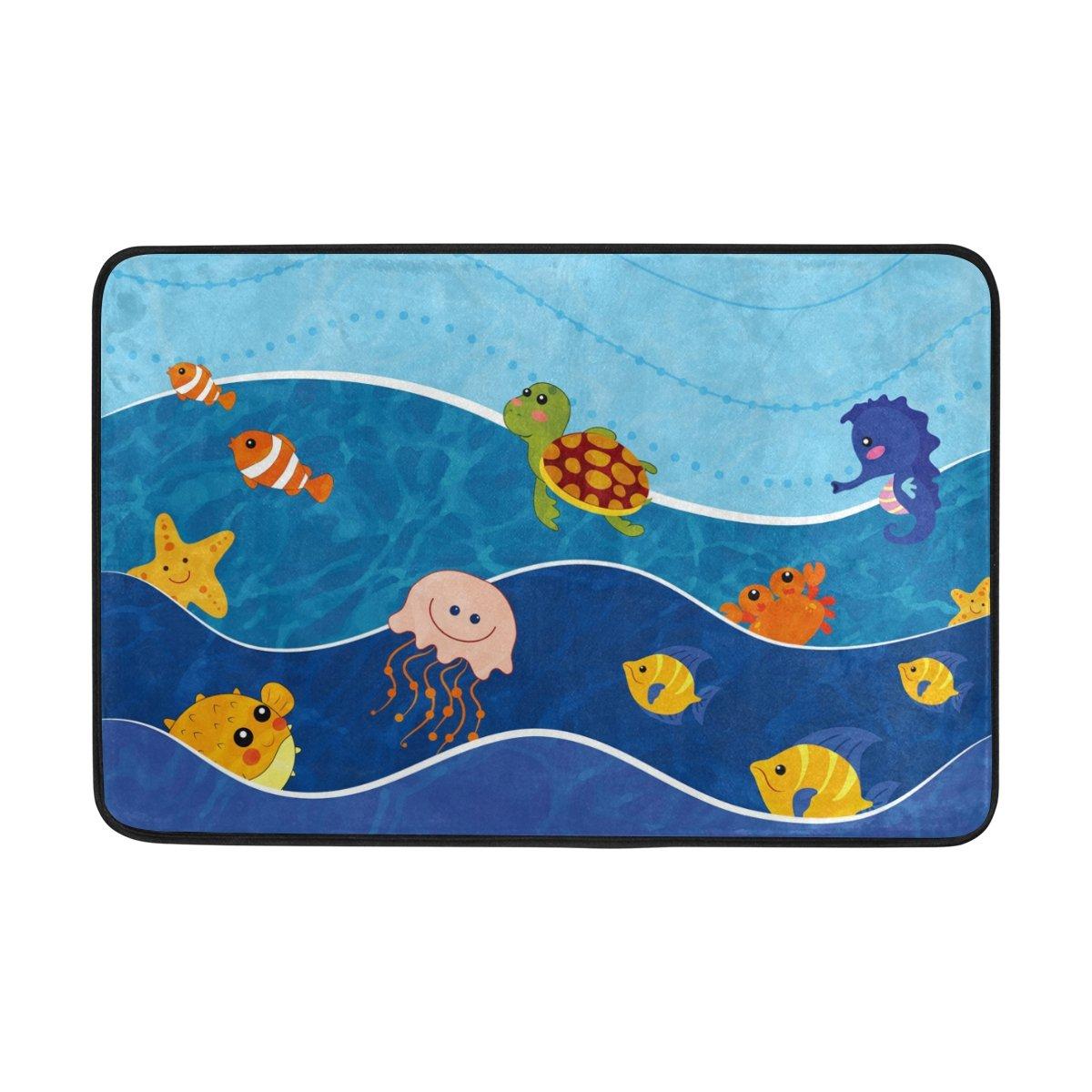 My Daily Sea Animals Cartoon Kids Doormat 15.7 x 23.6, Living Room Bedroom Kitchen Bathroom Decorative Unique Lightweight Printed Rugs Carpet