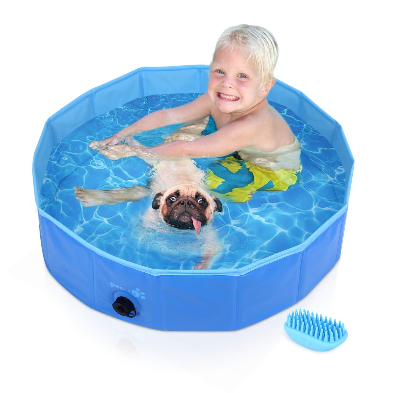 Pecute Piscina para Mascotas, bañera Plegable, Material PVC, Antideslizante y Resistente al Desgaste (S:80cm*20cm)