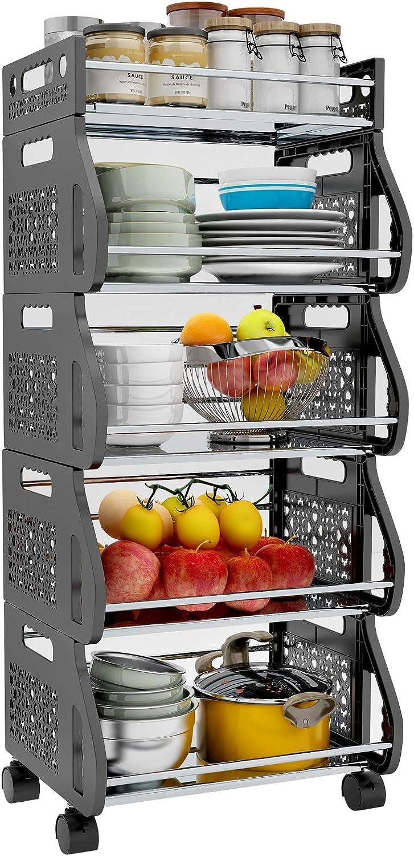 Fruit Vegetable Storage Basket, 5 Tier Stackable Kitchen Baskets Fruit Vegetable Shelves Utility Cart Rack Storage Bin for Kitchen Pantry, Heavy Duty Free-Standing Organizer