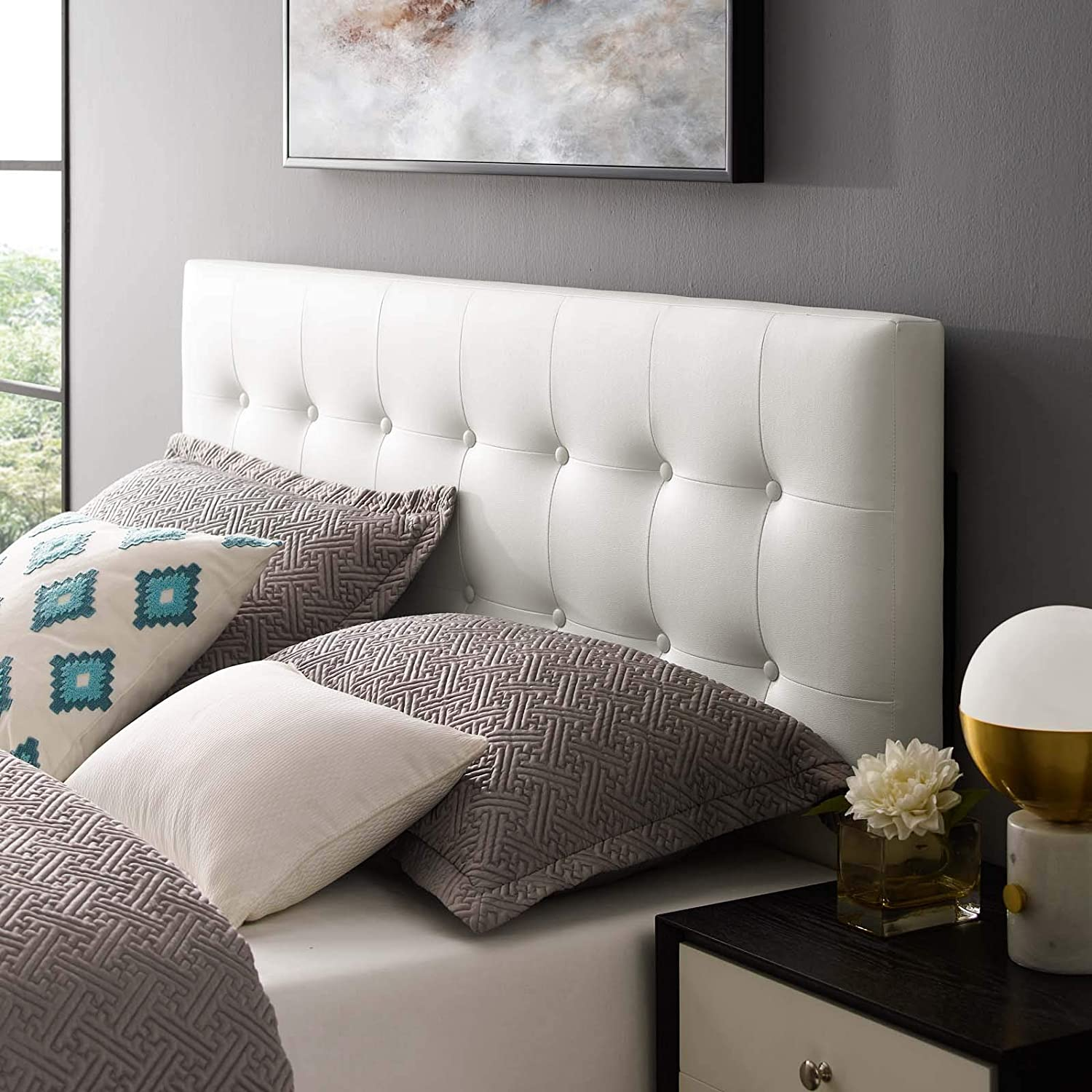 Modway Emily Tufted Button Faux Leather Upholstered Full Headboard in White