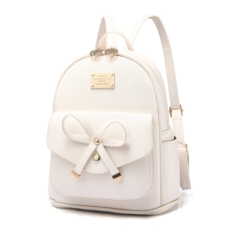 PINCNEL Girls Bowknot Cute Leather Backpack Mini Shoulder Bag Backpack Purse for Women, Beige