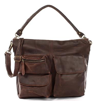 546e416fdd169 LECONI Schultertasche Ledertasche für Damen Vintage-Look echtes Leder Natur  großer Shopper Lederhandtasche für DIN