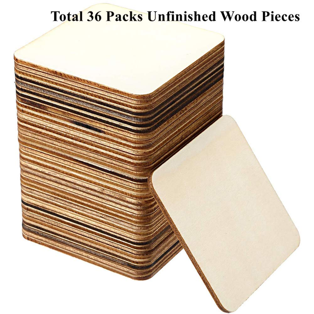 Wooden Squares Cutout Tiles WOWOSS 36 Pack Unfinished Wood Pieces DIY Supplies 4 x 4 inches Natural Rustic Craft Wood for Home Decoration